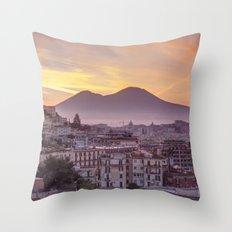 Napoli, landscape with volcano Vesuvio and sea Throw Pillow