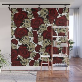 Red Roses & Skulls Black Floral Gothic White Wall Mural