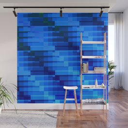 Buildings At Night In Blue Modern Abstract Wall Mural