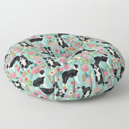 border collie cute florals mint pink black and white dog gifts for dog lover Floor Pillow