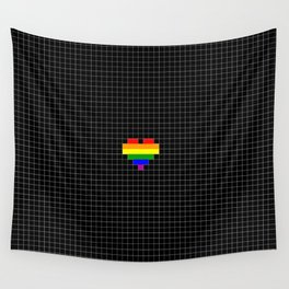 Pixel Love (rainbow square heart on black) Wall Tapestry