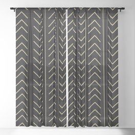 Mudcloth Black Sheer Curtain