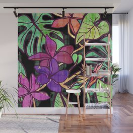 Tropical leaves and flowers, jungle print Wall Mural
