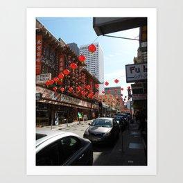 Red lanterns in China town, CA Art Print