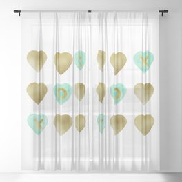 Tic Tac Toe hearts - Gold and Mint palette Sheer Curtain