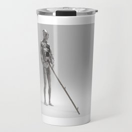 Fourarmed Lonely Bot Being Boarded by It's Controllers. Travel Mug