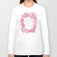 fitzgerald Long Sleeve T-shirts featuring Zelda Fitzgerald – Pink on Charcoal by Cat Coquillette