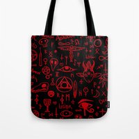 notebook Tote Bags featuring notebook scribbles for satan by Mel Fox