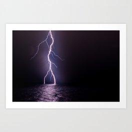 Lightning at Sea Art Print