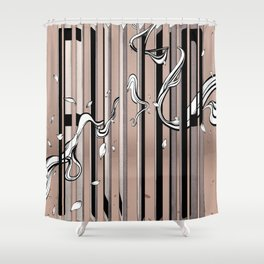 "Typography x illustration ""FLIP"" incorporate with abstract lines and flowers' movement Beige Pink Shower Curtain"