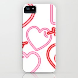Neon Hearts iPhone Case