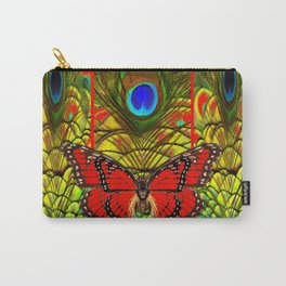 RED MONARCH BUTTERFLIES LIME COLOR PEACOCK ART Carry-All Pouch