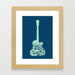 Fish playing music in a guitar Framed Art Print