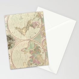 Vintage Map of The World (1780) 2 Stationery Cards