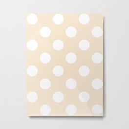 Large Polka Dots - White on Champagne Orange Metal Print