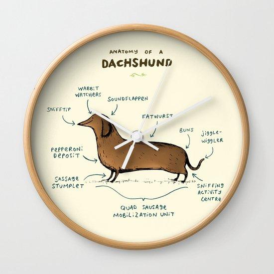 Anatomy Of A Dachshund Wall Clock By Sophie Corrigan