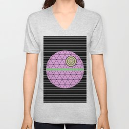 Death Star (Abstract, pastel, geometric artwork) Unisex V-Neck