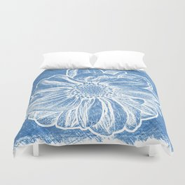 White Flower On Denim Blue Crayon Duvet Cover