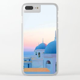 Vacations in Santorini Clear iPhone Case