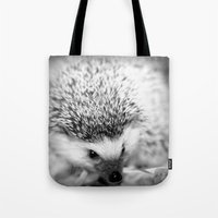 hedgehog Tote Bags featuring hedgehog by Bunny Noir