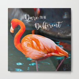Flamingo Photo   Dare to be Different Metal Print