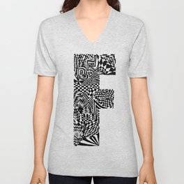 Alphabet Letter F Impact Bold Abstract Pattern (ink drawing) Unisex V-Neck