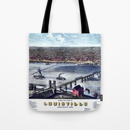 LOUISVILLE KENTUCKY city old map Father Day art print poster Tote Bag