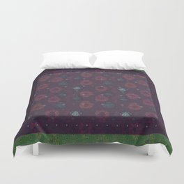 Lotus flower patchwork with green border, woodblock print style pattern Duvet Cover