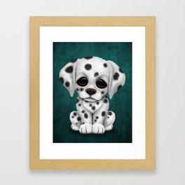 Cute Dalmatian Puppy Dog on Blue Framed Art Print