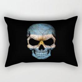 Dark Skull with Flag of Argentina Rectangular Pillow