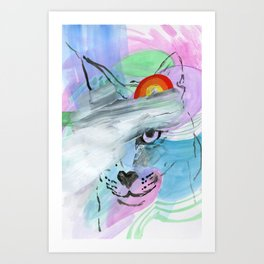 Coy Cat with Rainbow Art Print