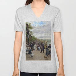 Sunday in Bas-Meudon Landscape Painting by Firmin-Girard Unisex V-Neck
