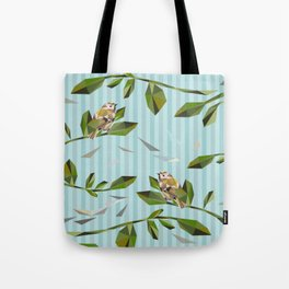 Cute Geometric Goldcrests Pattern Tote Bag