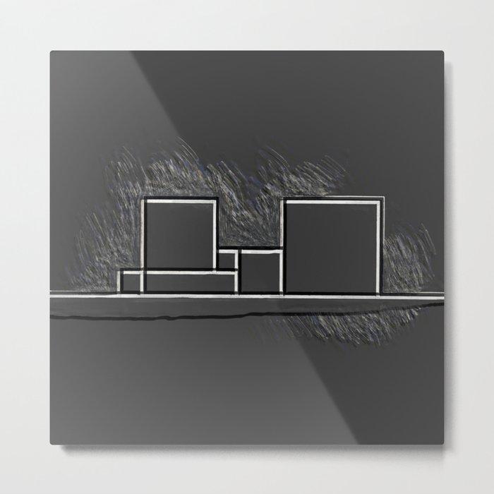 Parallel black white lines No. 03 Metal Print