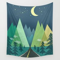 road Wall Tapestries featuring The Long Road at Night by Jenny Tiffany