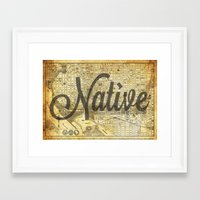 vintage map Framed Art Prints featuring Vintage map by Cultivate Bohemia
