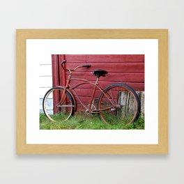 Red Bike on A Red Barn Wall Framed Art Print