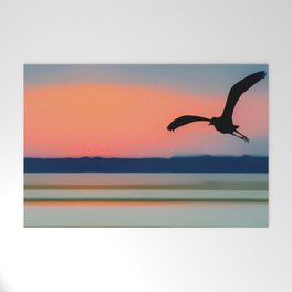 Seagull Sunset Abstract Welcome Mat
