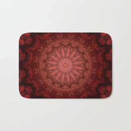 Bright red Bohemian mandala design Bath Mat