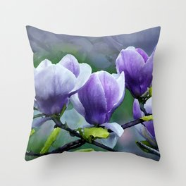 When Magnolias Bloom in Purple Throw Pillow