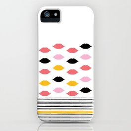 Kisses & Stripes hot summer edition - black, white, gold and pink pattern in vintage Style iPhone Case