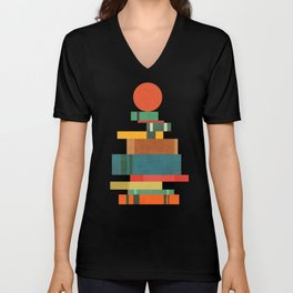 Book stack with a ball Unisex V-Neck