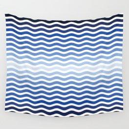 Ocean waves navy blue striped pattern, minimalist summer waves Wall Tapestry