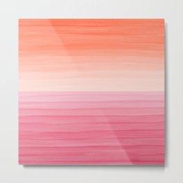 Orange Sunset on Pink Ocean Minimalist Painting Metal Print