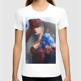 Kissed by the light - Blonde girl with hat and blue flowers T-shirt