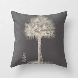 Palm tree - botanical silver illustration Throw Pillow