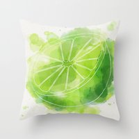 lime green Throw Pillows featuring Lime by Ashley Stone
