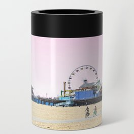Santa Monica Pier with Ferries Wheel and Roller Coaster Against a Pink Sky Can Cooler