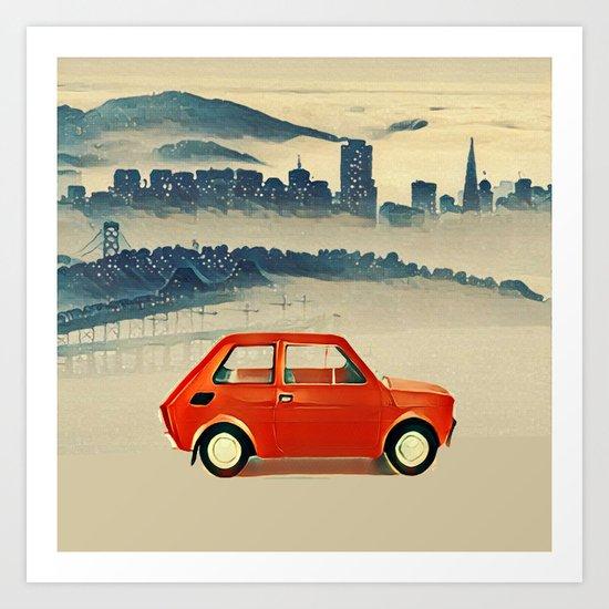 Red Polski Fiat  Art Print