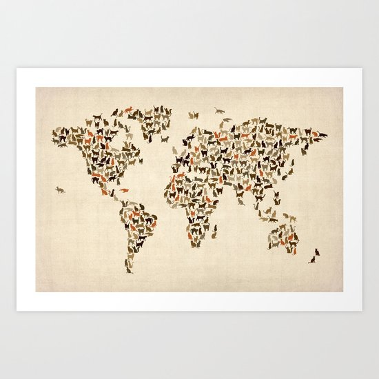 Cats Map of the World Map Art Print